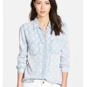 Rails chambray denim button front star shirt